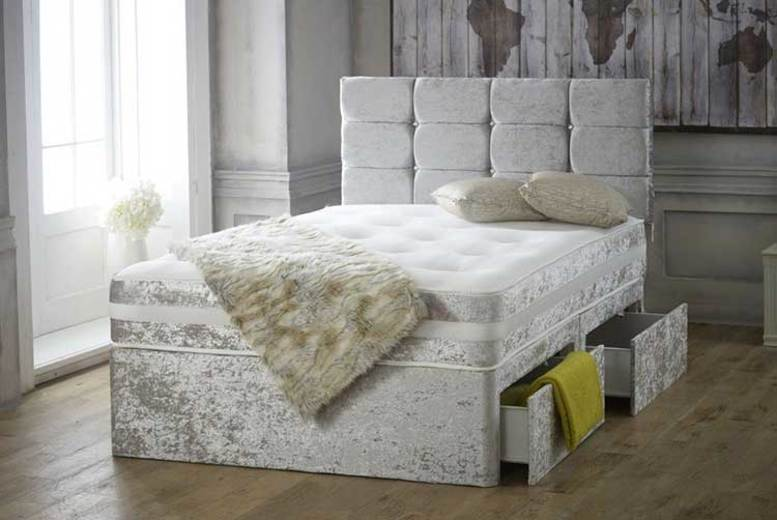 Crushed Velvet Divan Bed with Memory Mattress
