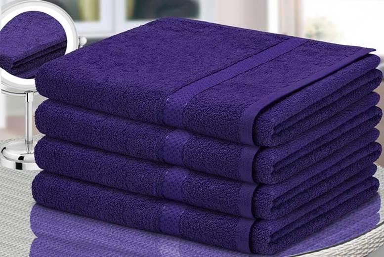 4pc Egyptian Cotton Bath Sheet Set – 11 Colours! for £14