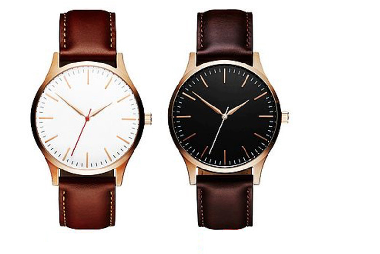 Men's Leather Strap Watch - 2 Colours!