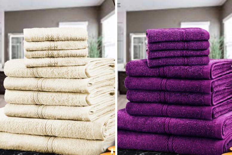 Home: Hotel Quality 10pc Cotton Towel Bale - 13 Colours!