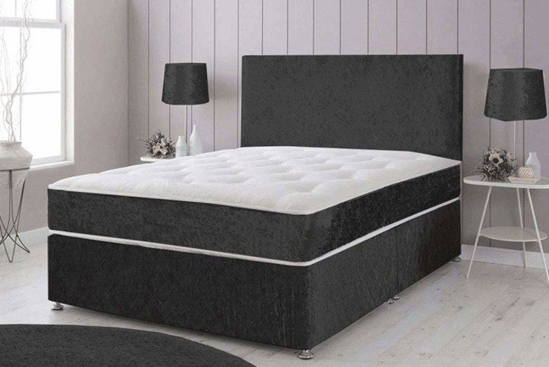 Crushed Velvet Divan Bed with Headboard, Cooling Mattress & Optional Drawers! for £89
