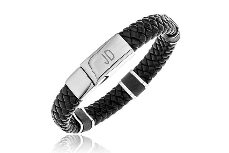 Men's Personalised Stainless Steel & Leather Bracelet for £19.99