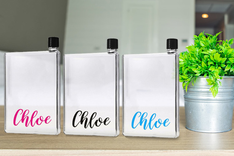 Personalised A6 Slim Water Bottle – 3 Colours!