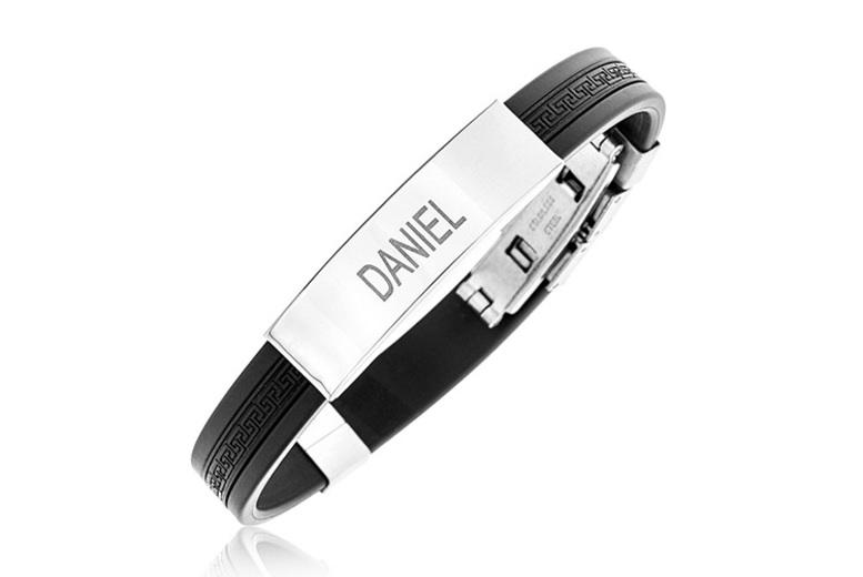 Personalised Stainless Steel Black Rubber Men's Bracelet