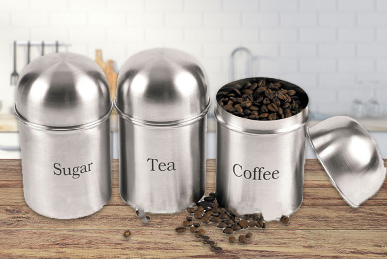 3pc Tea, Coffee & Sugar Tin Set