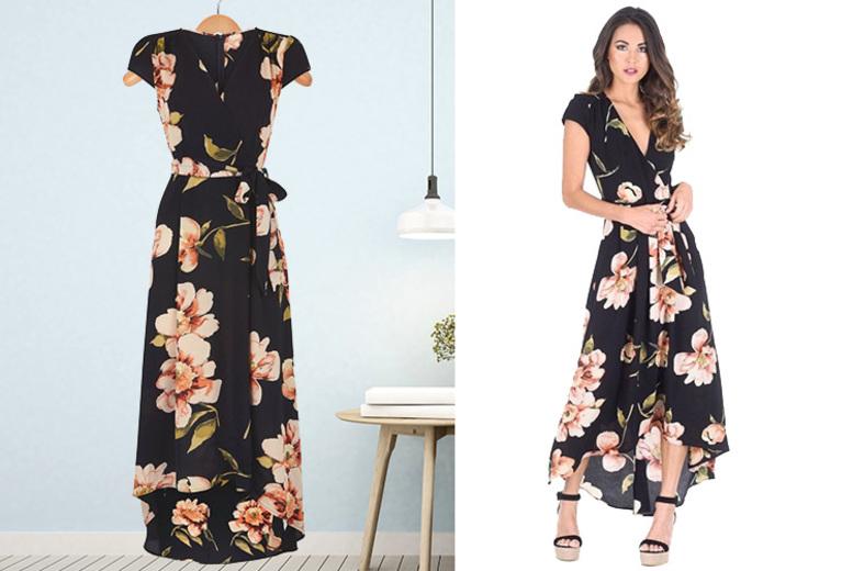 Black Floral Print Maxi Wrap Dress – Sizes 8-14!