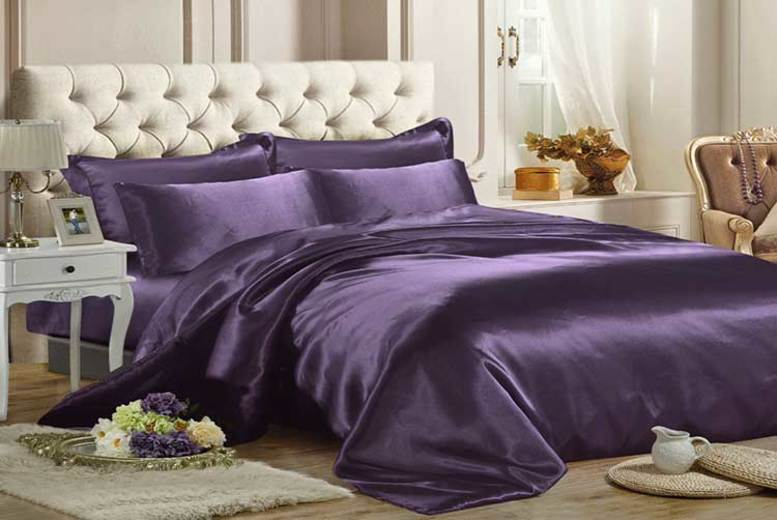 6pc Satin Duvet Set – 3 Sizes & 10 Colours! from £12.99