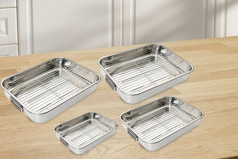 4pc Stainless Steel Roasting Tray Set