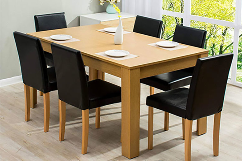 7pc Wooden Dining Set w/ PU Leather Chairs