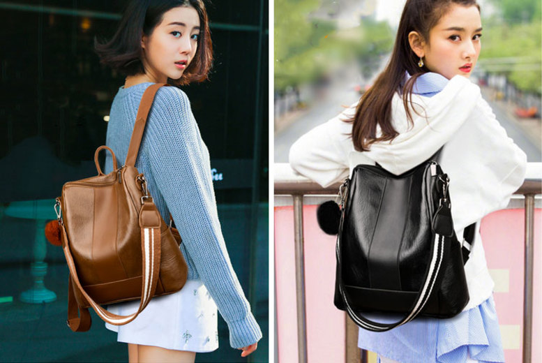 Faux Leather Pom Pom Backpack – 2 Colours! (£12)