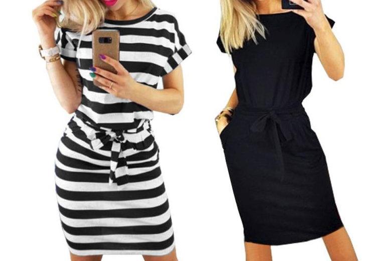 Chic Belted Midi Dress – UK Sizes 8-18 & 4 Colours! (£8.98)