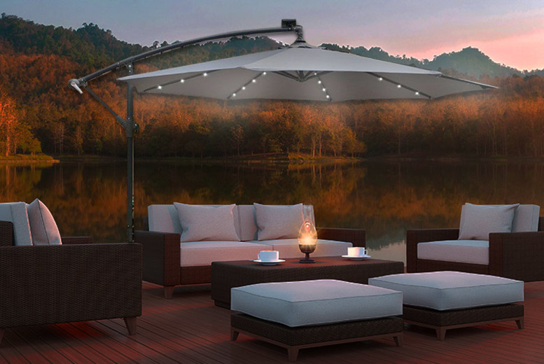 Apollo Banana Cantilever Parasol With Built-In LED Lights – 2 Colours! (£89)
