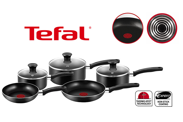 £29.99 instead of £93.01 (from Elite Housewares) for a five-piece Tefal non-stick cookware set - save 68%