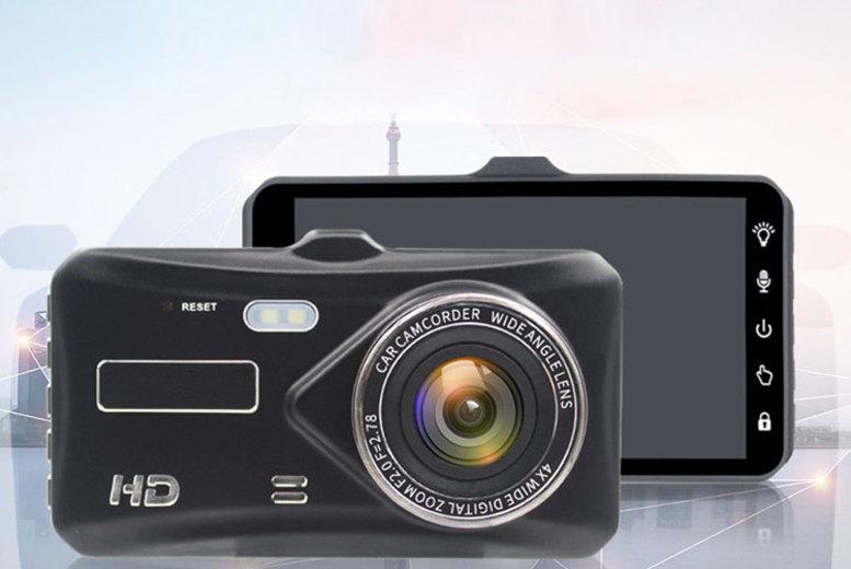 Touchscreen 1080P HD Front & Rear Dash Cam w/ Optional 32GB SD Card (£29)