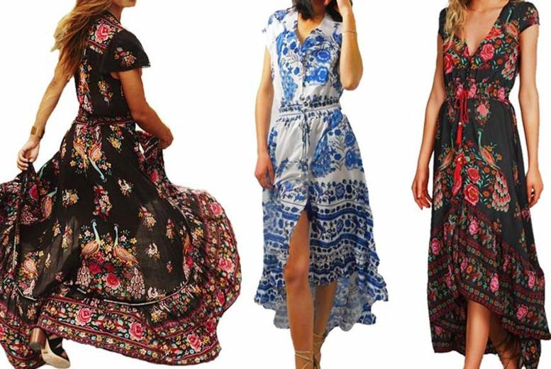 Vintage V-Neck Dress – 2 Colours & UK Sizes 8-18! (£9.98)