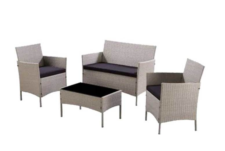 4pc Rattan Garden Furniture Set with Cover Option  4 Colours!