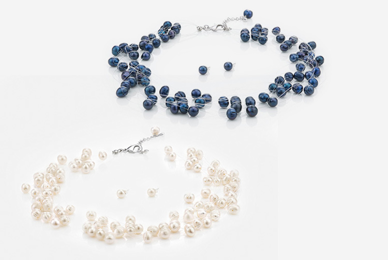 Freshwater Pearl Cluster Necklace – 2 Colours! (£17)