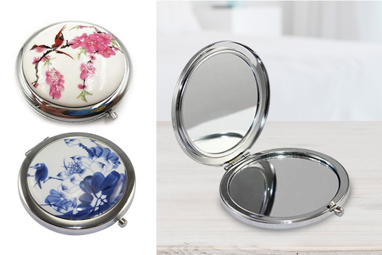 1 or 3 Porcelain Compact Travel Mirrors – 2 Colours! (£2.98)