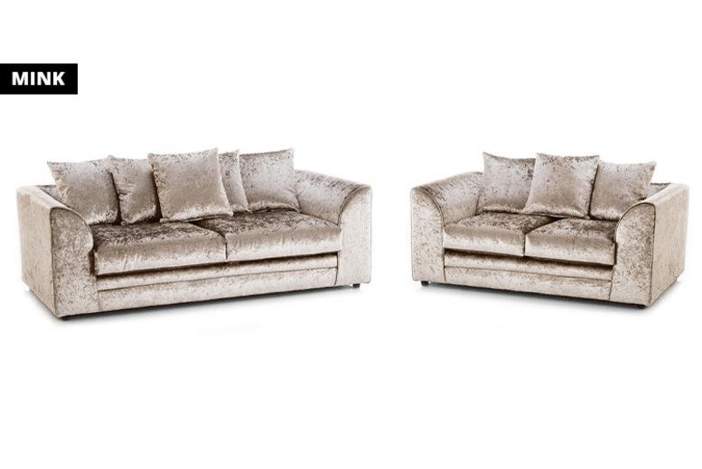 Crushed Velvet Tarriro 3+2 Sofa Set - 2 Colours!