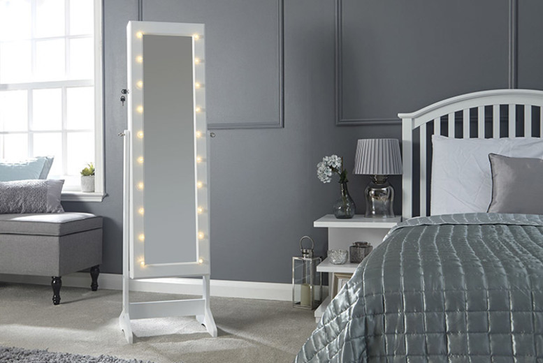 Standalone LED Mirrored Jewellery Cabinet (£69)