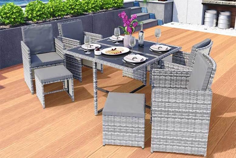 9pc Rattan Garden Furniture Set & Cover – 3 Colours!