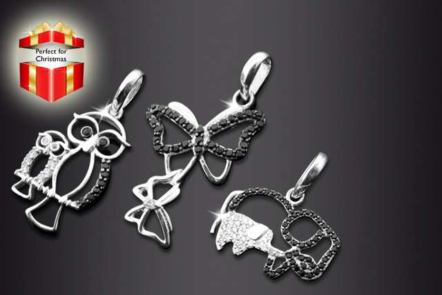 £29 instead of £149.99 (from British Gem) for a sterling silver and black diamond animal pendant in your choice of 10 designs - save 81%