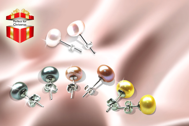 £10 instead of £119.99 (from Vivid Jewels) for four pairs of freshwater pearl earrings in four different colours - save 92%