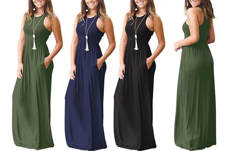 Summer Maxi Dress – 3 Colours & UK Sizes 8-18! (£9.98)