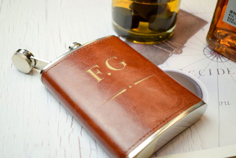 Faux Leather Personalised Hipflask (£9.99)