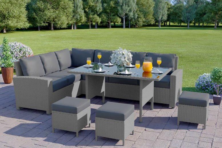 9 Seater Rattan Garden Corner Sofa & Table Set – 5 Options! (£579)