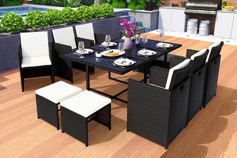 10 or 12-Seater Rattan Garden Furniture Set – 3 Colours!