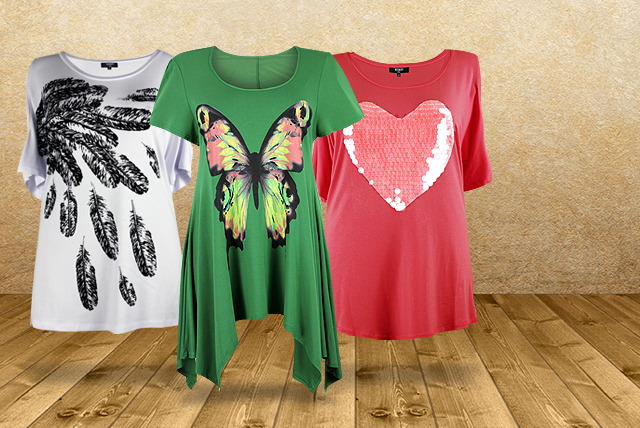 £8 instead of £25 (from Lovedrobe) for a choice of plus-size patterned T-shirts, £14 for 2 T-shirts - save up to 68%