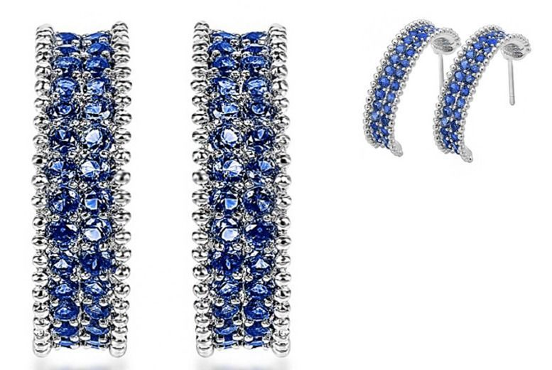 RhodiumPlated Royal Blue Earrings