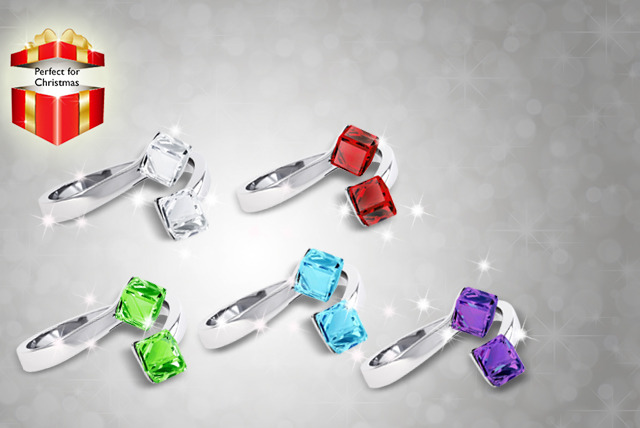 £9 instead of £49 (from Rocks of London) for a Swarovski Elements crystal cube ring in a choice of colours - save 82%