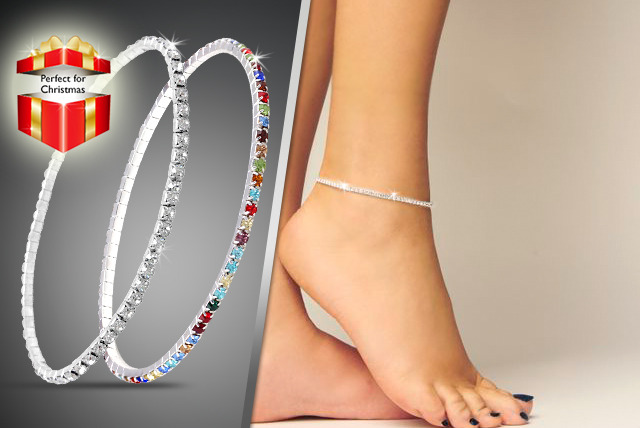 £6 for a clear or multi-coloured 'Austrian' crystal anklet, or £10 for both anklets from Cian Jewels - save up to 80%