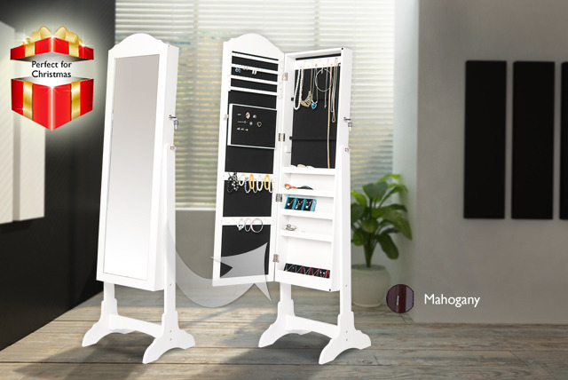 £99 for a white or mahogany effect jewellery armoire with full-length mirror