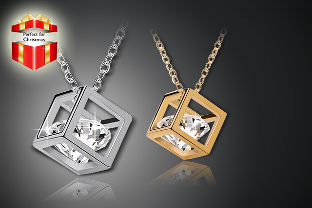 £6.99 instead of £39.99 (from Marcus Emporium) for a Swarovski Elements 'crystal in a box' cube necklace, gold or silver-plated - save 83%