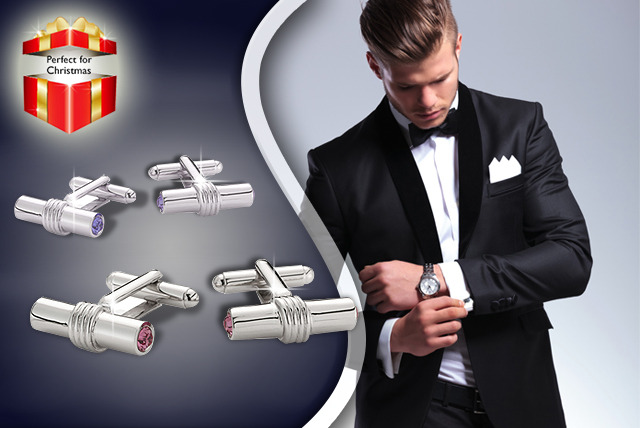 £11 instead of £30 (from ICE London) for a pair of Swarovski Elements T-bar cufflinks or personalised silver-plated cufflinks - save 63%