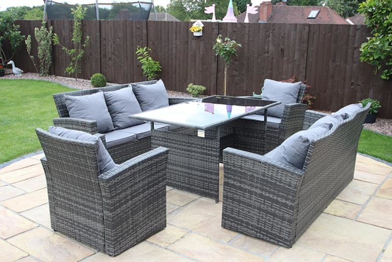 Rosen 7 or 8-Seat Rattan Furniture Set & Optional Cover – 3 Colours (£499)