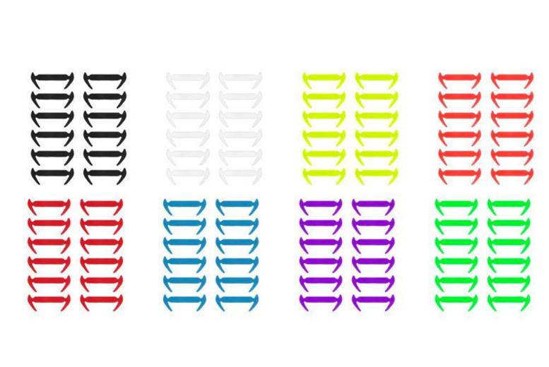 12pk No-Tie Silicone Shoelaces - 8 Colours!