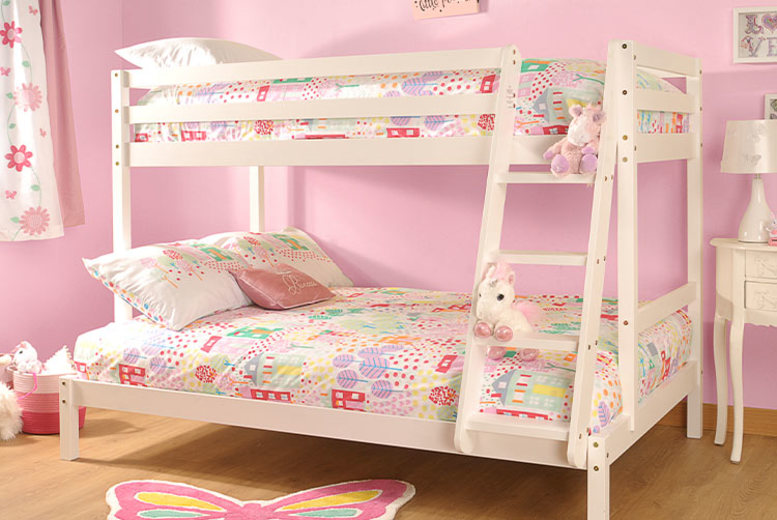 £159 instead of £799 (from UKfurniture4u) for a triple wooden bunkbed, or £265 for a bunk bed w/ mattress – save up to 80%