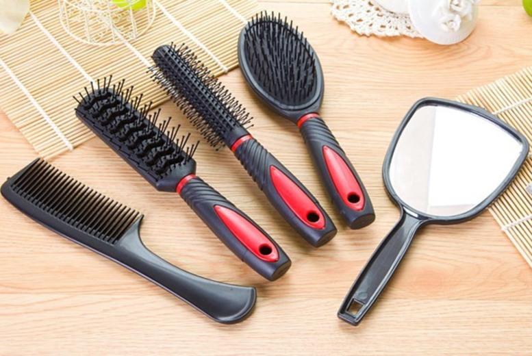 5pc Women's Hair Brush Set & Holder – 4 Colours! (£4.99)