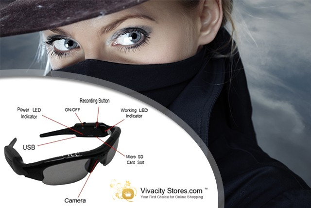 £34.99 for Spy Sunglasses with a built-in camera, £39.99 with a 4GB memory card or £44.99 with 8GB from Vivacity Stores – save up to 63%
