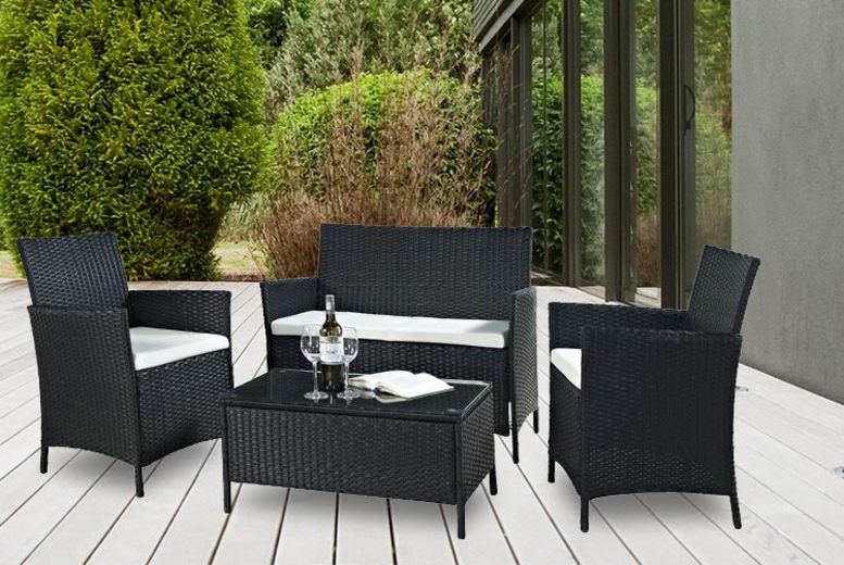 4pc Rattan Outdoor Furniture Set – 3 Colours! (£99)
