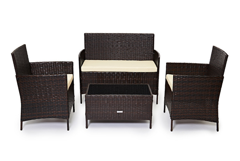 4pc Rattan Outdoor Furniture Set - 3 Colours!