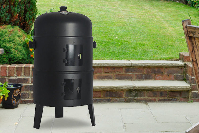 3in1 Round Smoker Charcoal BBQ