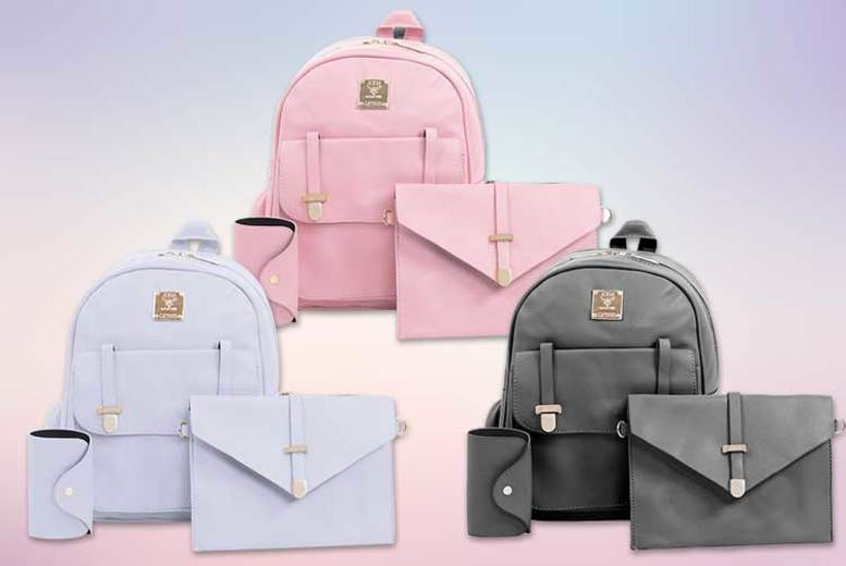 3pc Backpack Set – Shoulder Bag, Clutch and Card Holder! (£12.98)