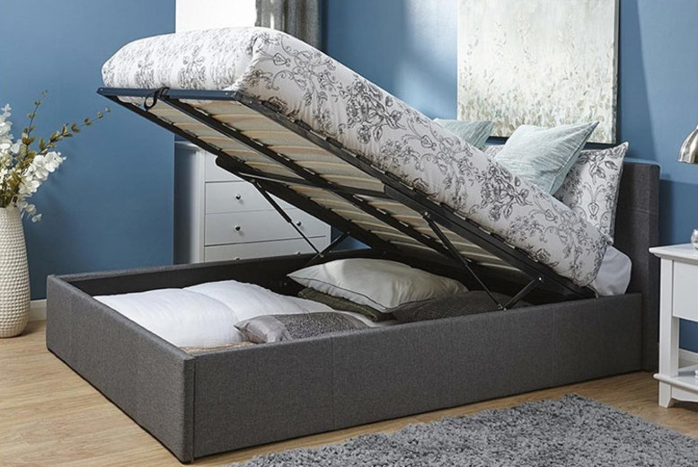 Silver Fabric Ottoman Bed – 4 Sizes! (£149)
