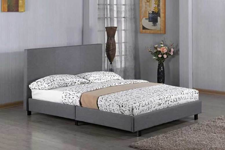 Fusion Grey Fabric Bed Frame w/ Optional Mattress – 4 Sizes! (£69)