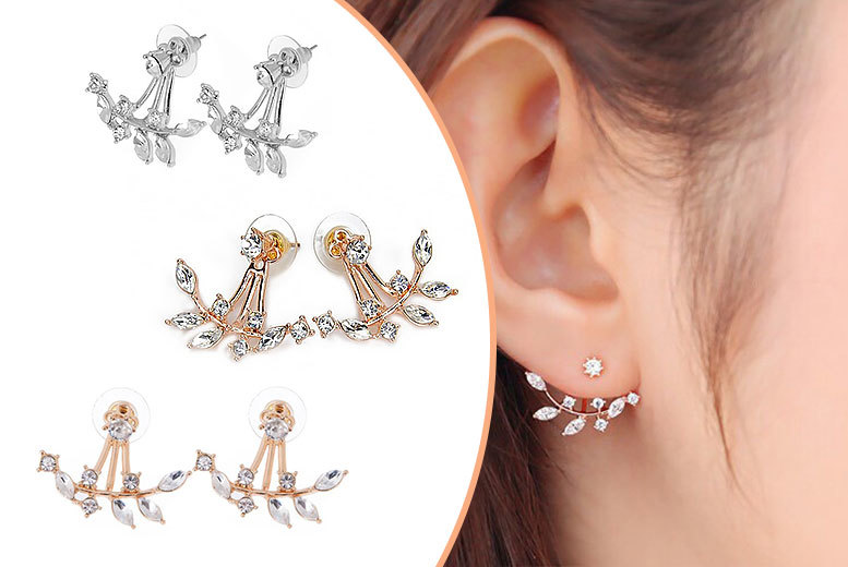 £5 instead of £47.01 (from India Rose Designs) for a pair of crystal leaf double drop earrings, £12 for three pairs – save up to 89%